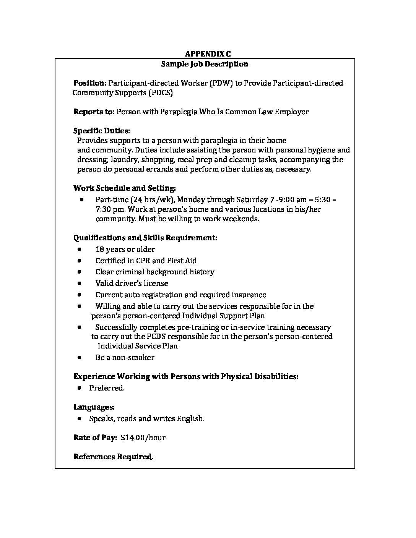 Services My Way Program: Sample Job Description