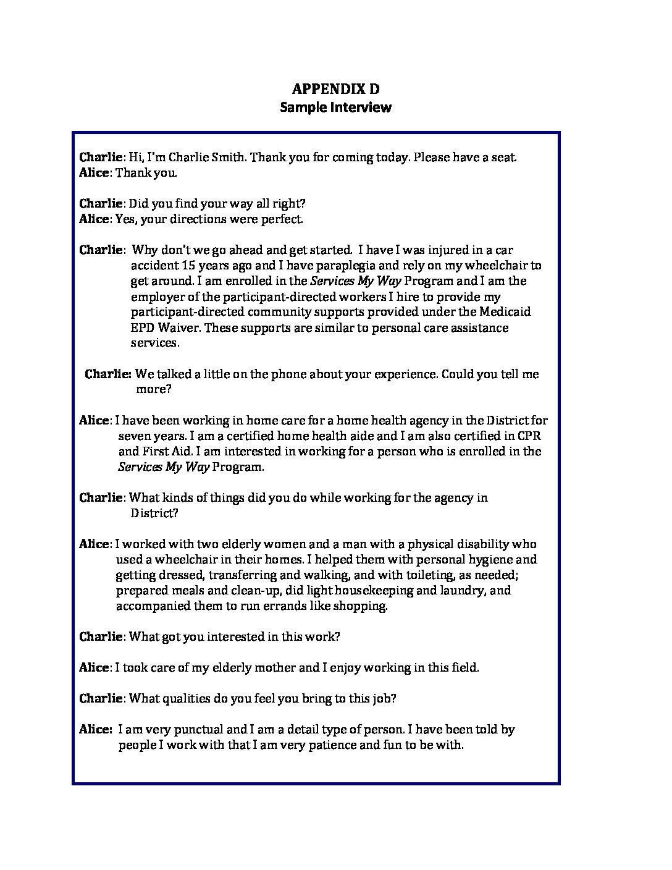 Services My Way Program: Sample Interview