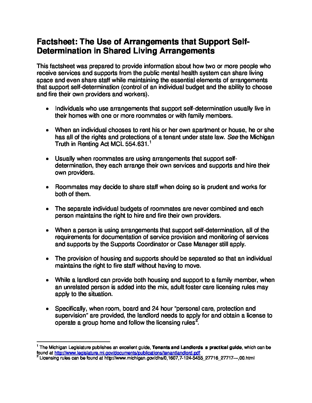 Factsheet: The Use of Arrangements that Support Self-Determination in Shared Living Arrangements