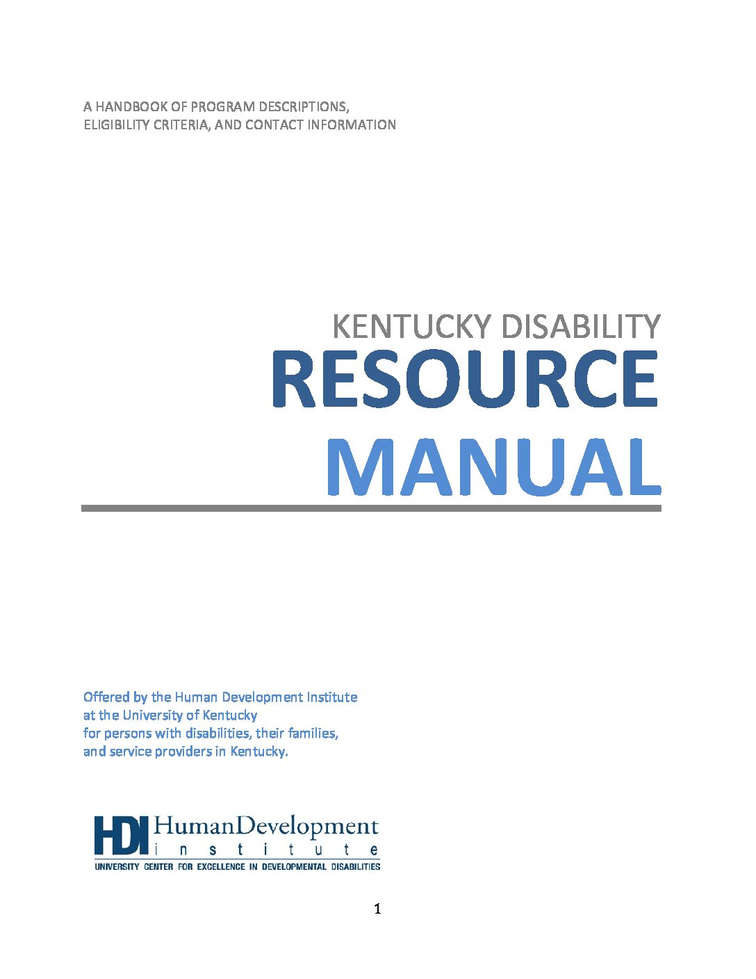 Kentucky Disability Resource Manual