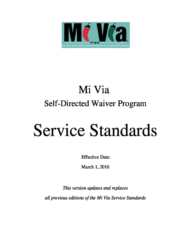 MI VIA WAIVER SERVICE STANDARDS