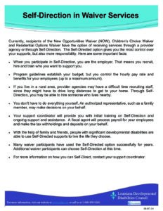 SELF-DIRECTION NEW OPPORTUNITIES WAIVER CHILDREN'S CHOICE RESIDENTIAL OPTION WAIVER